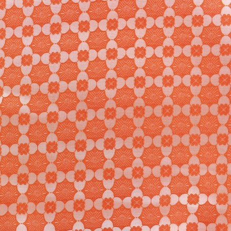 Tissu jacquard stretch Alhambra - orange x 10cm
