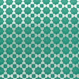 Tissu jacquard stretch Alhambra - vert x 10cm