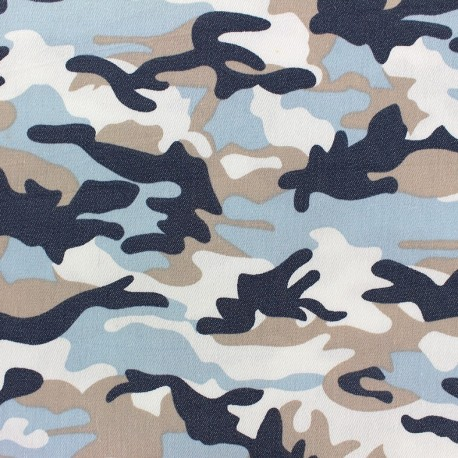 Camouflage stretch denim fabric  - navy blue x 10cm