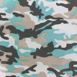 Camouflage stretch denim fabric  - opaline x 10cm