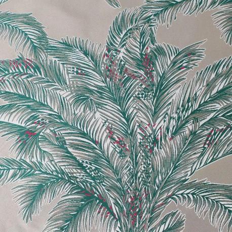 Tissu toile jacquard Bahia émeraude fond ficelle x 10cm