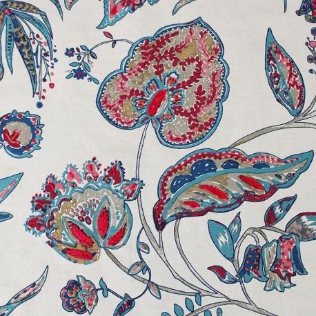 Tissu toile Calamine brodé - turquoise/framboise x 10cm