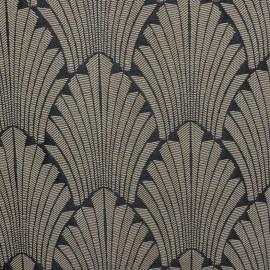 Tissu toile jacquard Idole - noir/ficelle x 20cm