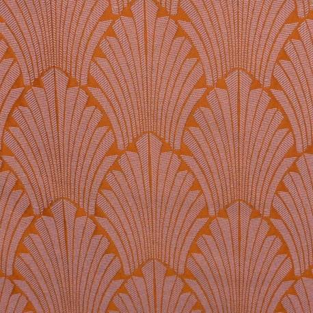 Tissu toile jacquard Idole - mandarine x 20cm