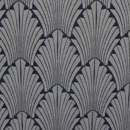 Jacquard Canvas Fabric Idole - navy x 20cm