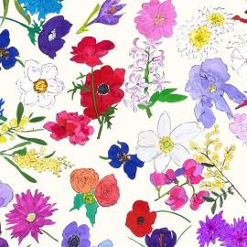 Tissu toile coton Blooming - crème x 65cm