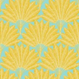 Tissu toile coton L'Arbre voyageur - ocre/vert d'eau x 31cm