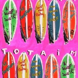 ♥ Coupon 300 cm X 140 cm ♥  Cotton Canvas Fabric Surfari - pink
