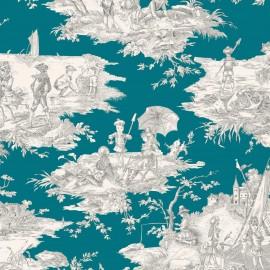 ♥ Coupon 110 cm X 280 cm ♥ Tissu toile coton Histoire d'eau - gris/bleu canard