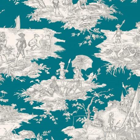Cotton Canvas Fabric Histoire d'eau - grey/duck x 64cm