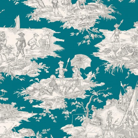 Tissu toile coton Histoire d'eau - gris/bleu canard x 64cm