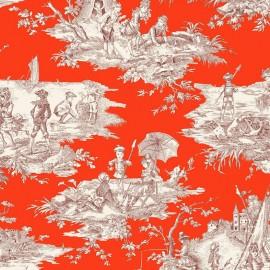 Tissu toile coton Histoire d'eau - bordeaux/corail x 64cm