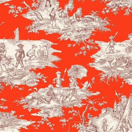 Tissu toile coton Histoire d'eau - bordeaux fond corail x 64cm