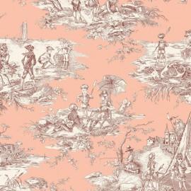 ♥ Coupon 250 cm X 280 cm ♥ Tissu toile coton Histoire d'eau - bordeaux/rose
