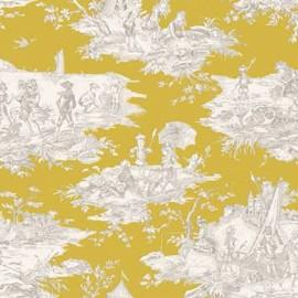 Tissu toile coton Histoire d'eau - moutarde x 64cm