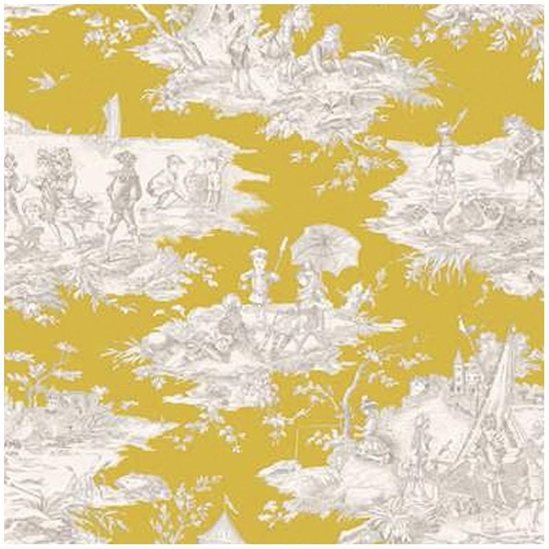 tissu toile coton histoire d 39 eau moutarde x 64cm ma petite mercerie. Black Bedroom Furniture Sets. Home Design Ideas