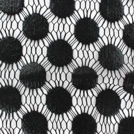 Tissu Dentelle guipure Pastille noir x 10cm