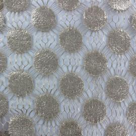 Tissu Dentelle guipure Pastille beige x 10cm