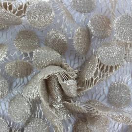 ♥ Coupon 50 cm X 160 cm ♥  Heavy Lace Fabric Pastille - beige