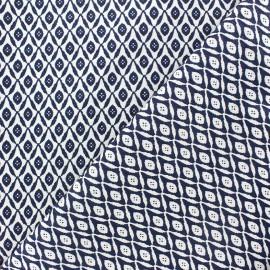 Tissu jacquard stretch Argyle bleu x 10cm