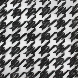 Tissu Organza brodé Pied-de-Poule - noir x 19cm