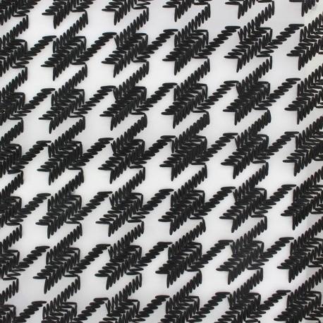 Organza Fabric Houndstooth - black x 19cm