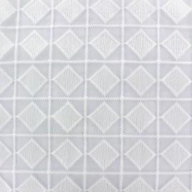 ♥ Coupon tissu 190 cm X 130 cm ♥ Tissu Organza brodé Carro - blanc
