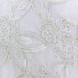 ♥ Coupon 330 cm X 120 cm ♥ Embroidered on Tulle Lace Fabric Flora - ecru