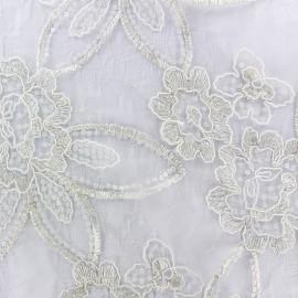 ♥ Coupon 330 cm X 120 cm ♥ Tissu tulle dentelle brodé Flora - écru