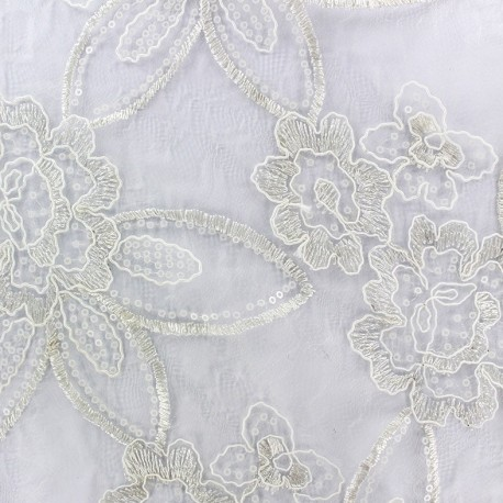 Embroidered on Tulle Lace Fabric Flora - ecru x 45cm
