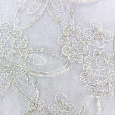 Tissu tulle dentelle brodé Flora - écru x 45 cm