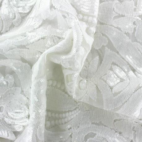 Tissu tulle dentelle brodé Luxury - écru x 20 cm