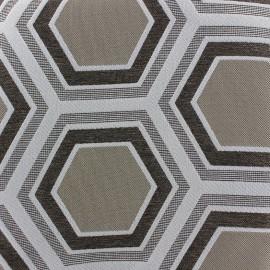 Tissu Tomette Lampas Hexagone bronze x 20 cm