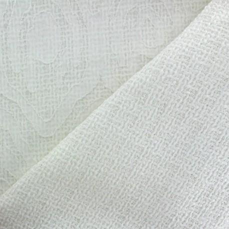 Tweed fabric Fancy pattern - white x 10cm