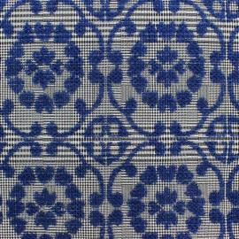 Tissu jacquard stretch Ornements bleu x 11cm