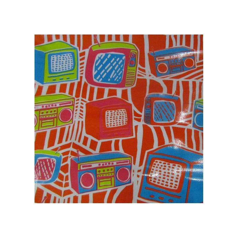 tissu toile cir e toile cir e vintage rouge mpm. Black Bedroom Furniture Sets. Home Design Ideas