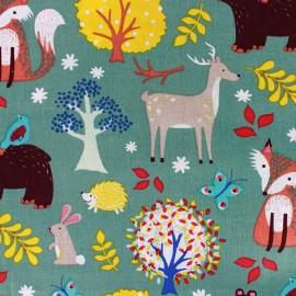 Tissu coton Lovely Forest - vert x 21cm