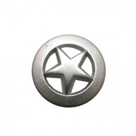 Metal button, centered star - silver