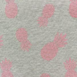 Tissu sweat Ananas glitter corail x 10cm