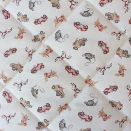 Tissu matelassé Manège - bordeaux/beige x 10cm