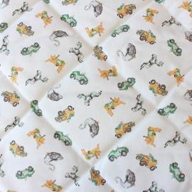 Tissu matelassé Manège - moutarde/vert x 10cm