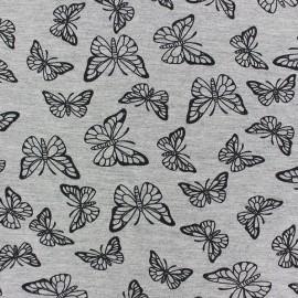 Tissu Jogging Butterfly - gris x 10cm