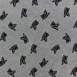 Tissu Jogging Paper Plane - gris x 10cm
