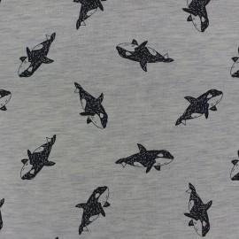 Tissu Jogging Whale - gris x 10cm