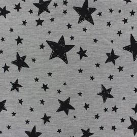 Tissu Jogging Stars - gris x 10cm