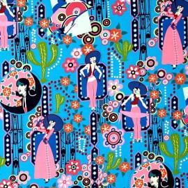 Tissu coton Ranchera - bleu x 60 cm