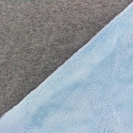 Sweat with minkee reverse side Fabric bicolore - grey/light blue x 10cm