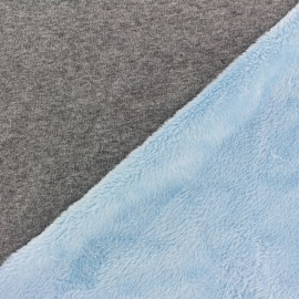 Tissu sweat envers minkee bicolore gris/bleu clair x 10cm