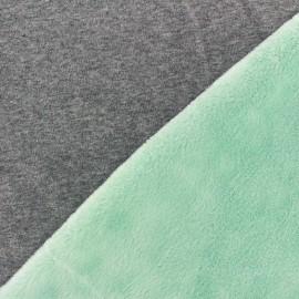 Tissu sweat envers minkee bicolore gris/vert clair x 10cm