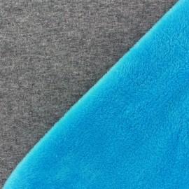 Tissu sweat envers minkee bicolore gris/bleu azur x 10cm